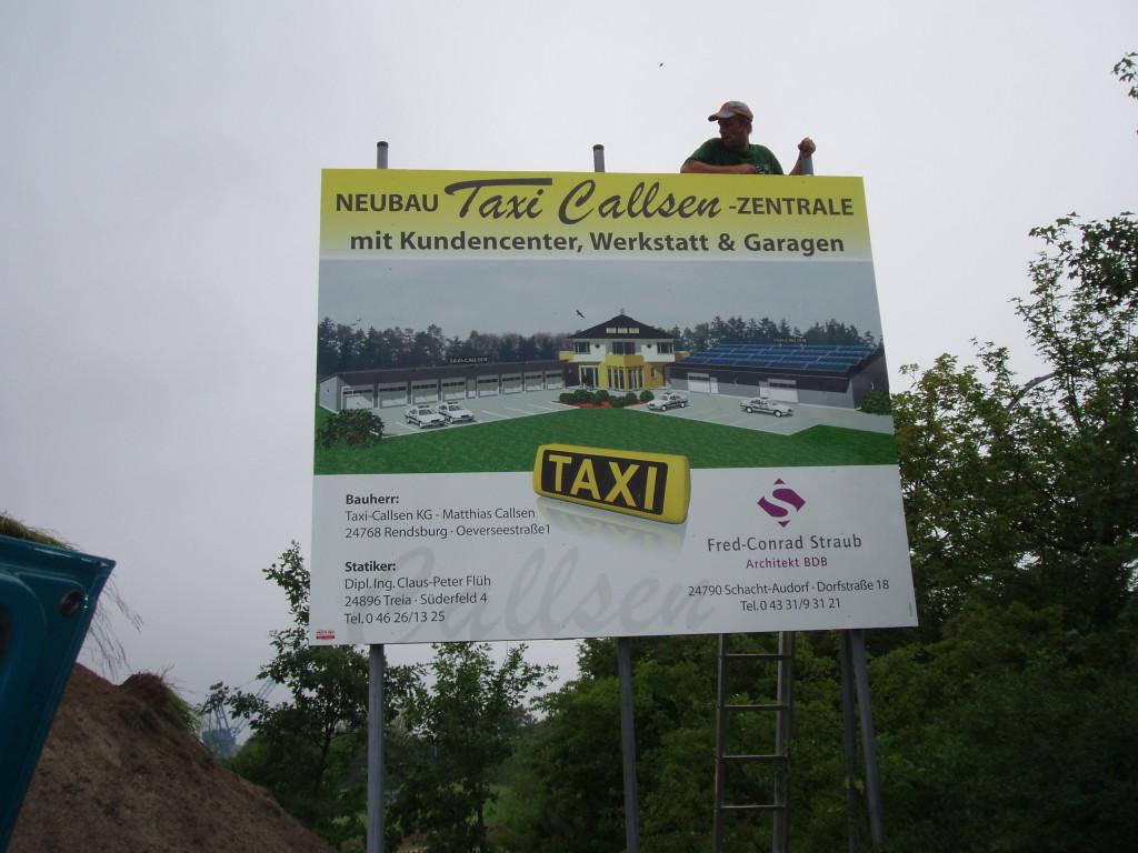 Bauschild Taxi Callsen